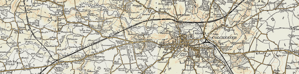 Old map of Lexden in 1898-1899