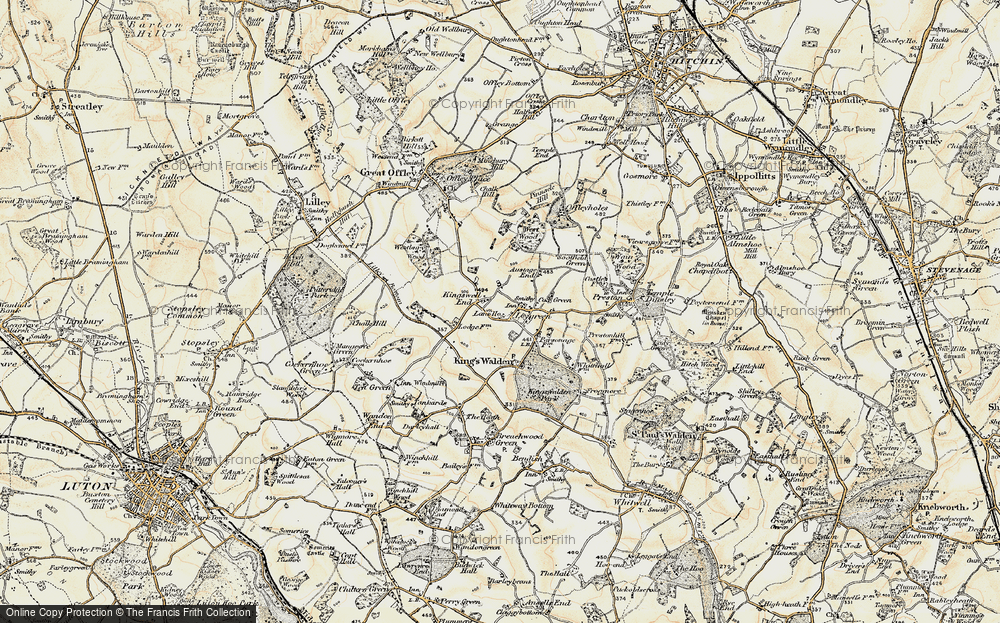 Old Map of Historic Map covering Austage End in 1898-1899