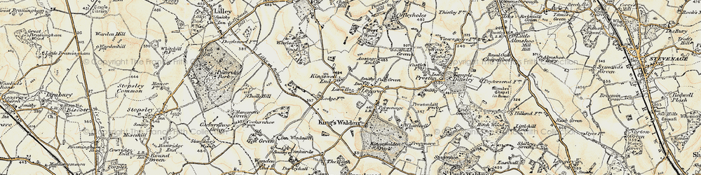 Old map of Ley Green in 1898-1899