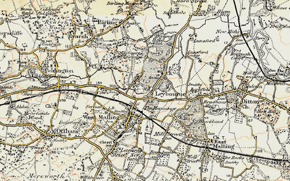 Old map of Leybourne in 1897-1898