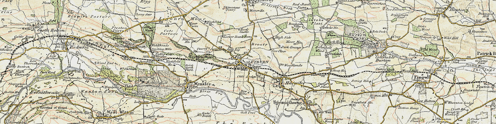 Old map of Leyburn in 1904