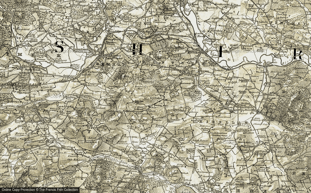 Old Map of Historic Map covering Tillybin in 1909