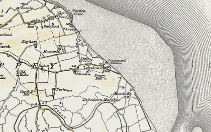 Old map of Leysdown Marshes in 1897-1898