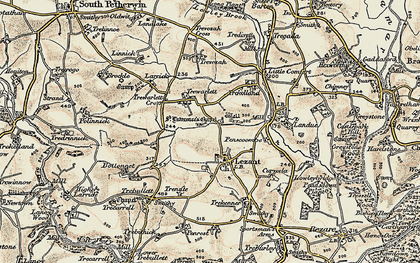 Old map of Lezant in 1899-1900