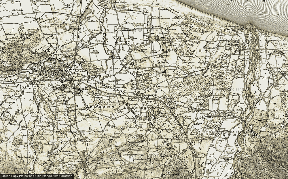 Old Map of Historic Map covering Woodpark in 1910-1911