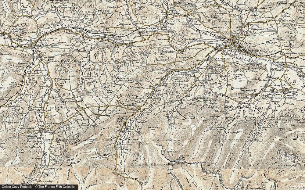 Old Map of Historic Map covering Afon Tarell in 1900-1901
