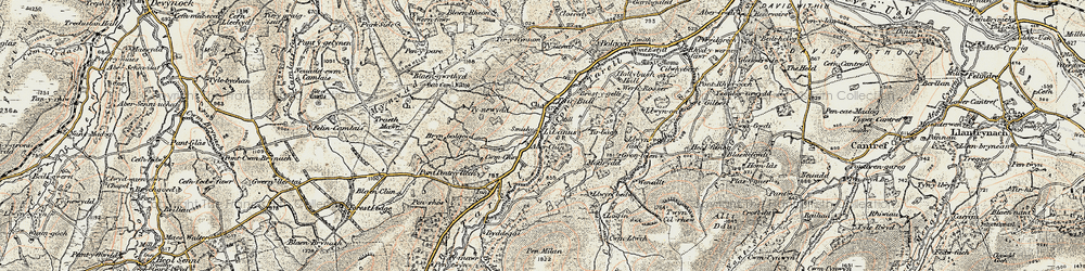 Old map of Afon Tarell in 1900-1901