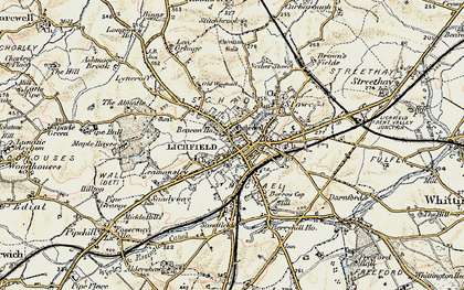 Old map of Lichfield in 1902