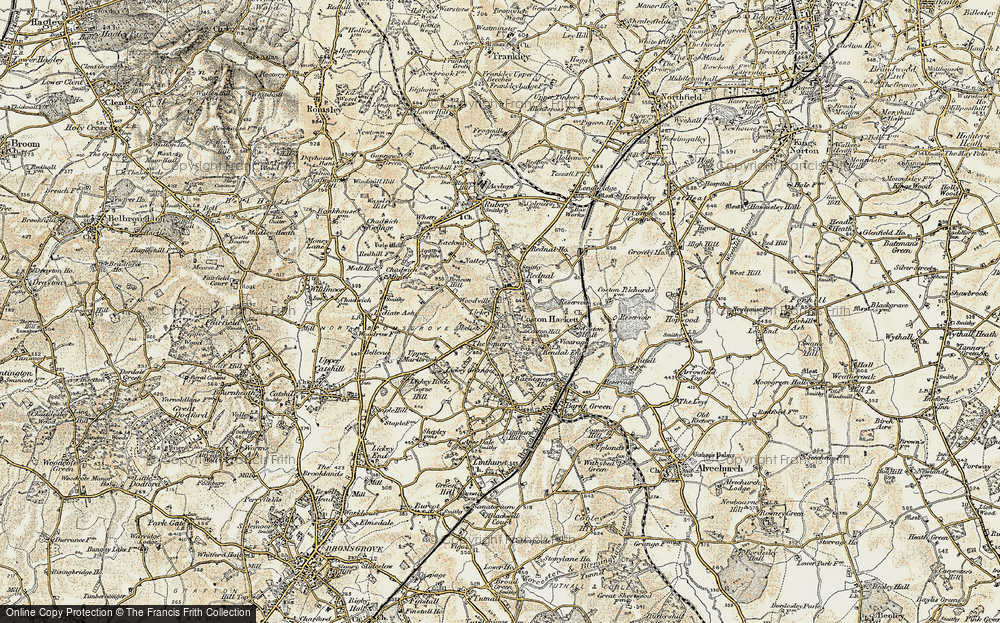 Old Map of Historic Map covering Lickey Hills in 1901-1902