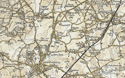 Old map of Lickey End in 1901-1902
