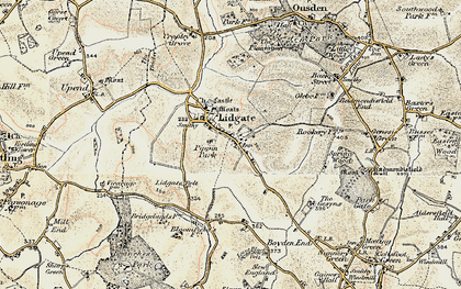 Old map of Lidgate in 1899-1901