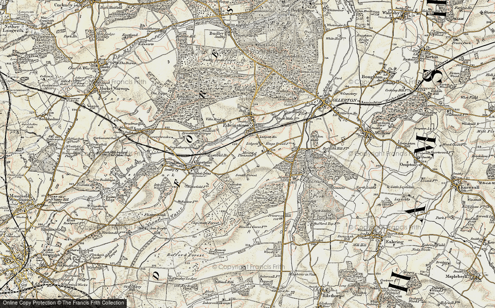 Old Map of Historic Map covering Amen Corner in 1902-1903