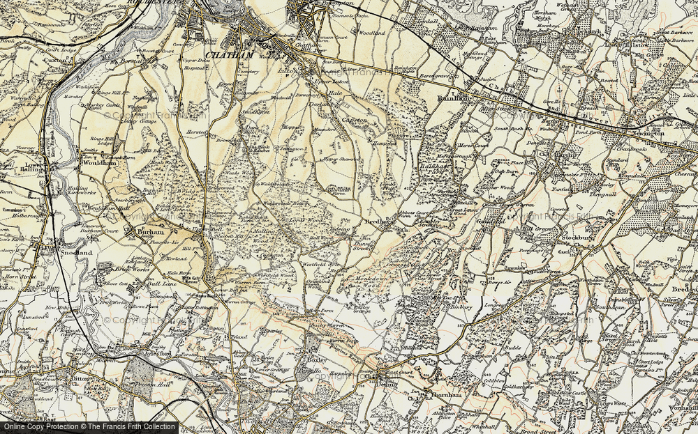 Old Map of Lidsing, 1897-1898 in 1897-1898