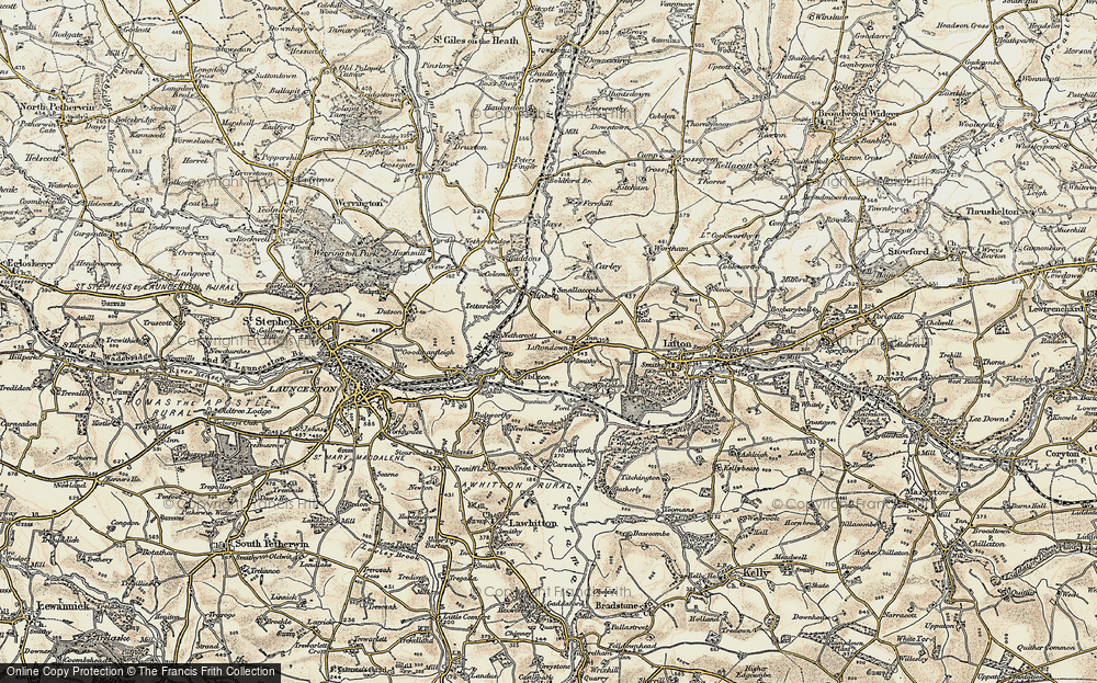 Old Map of Liftondown, 1899-1900 in 1899-1900