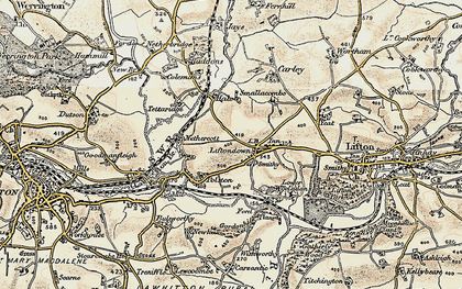 Old map of Liftondown in 1899-1900