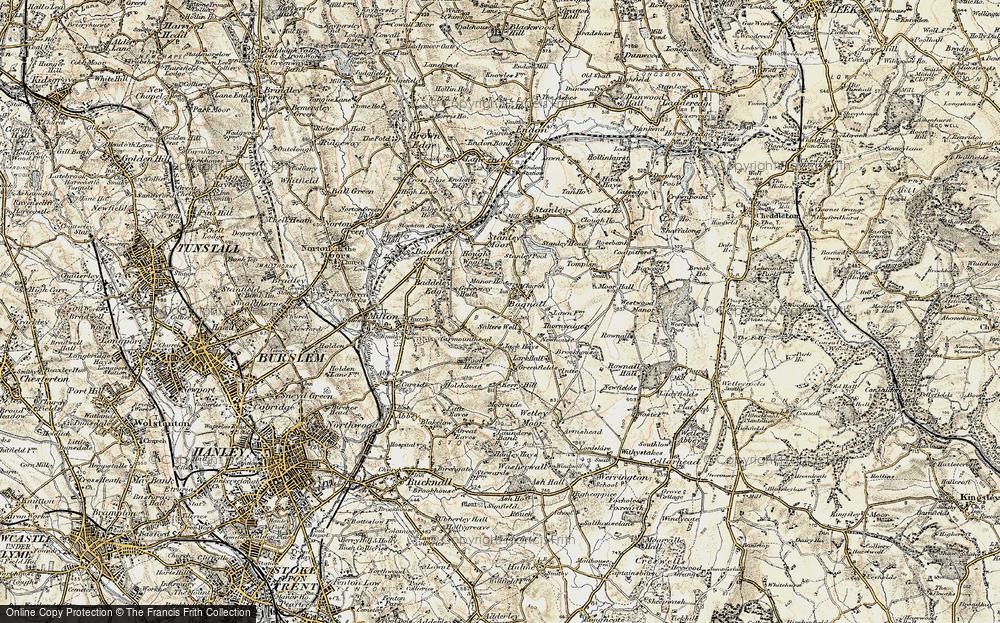Old Map of Light Oaks, 1902 in 1902
