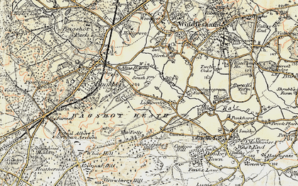 Old map of Lightwater in 1897-1909