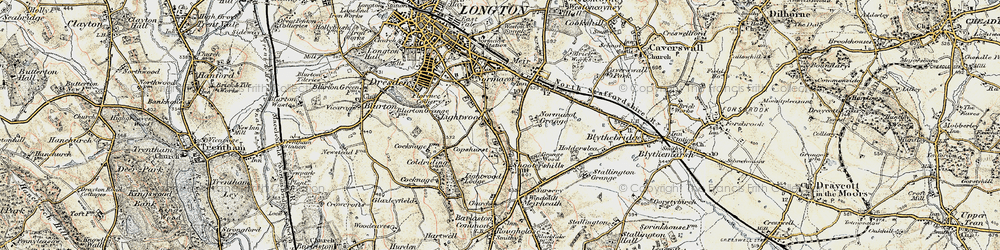 Old map of Lightwood in 1902