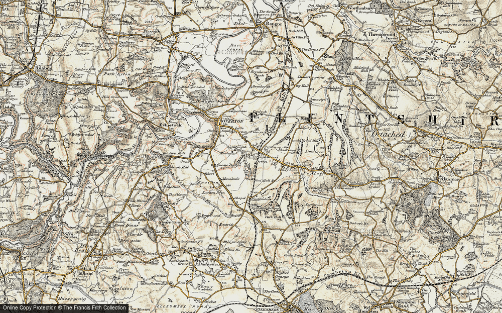 Old Map of Lightwood Green, 1902 in 1902