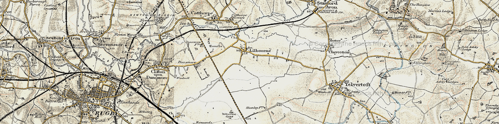 Old map of Lilbourne in 1901-1902