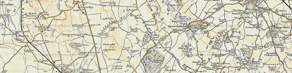 Old map of Lilley in 1898-1899