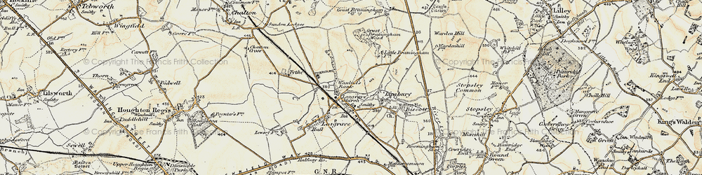 Old map of Limbury in 1898-1899
