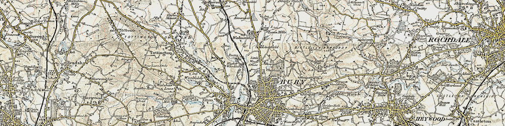 Old map of Limefield in 1903