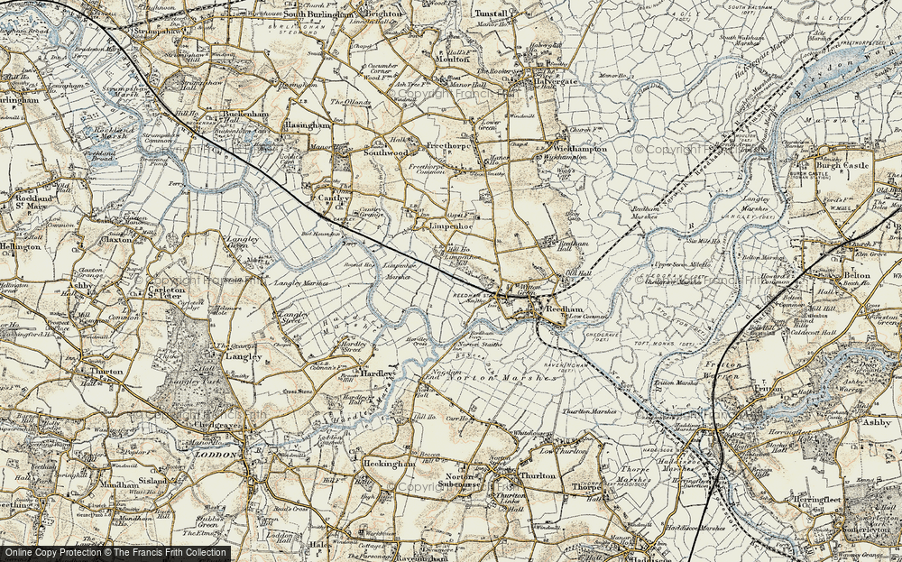 Old Map of Historic Map covering Limpenhoe Marshes in 1901-1902