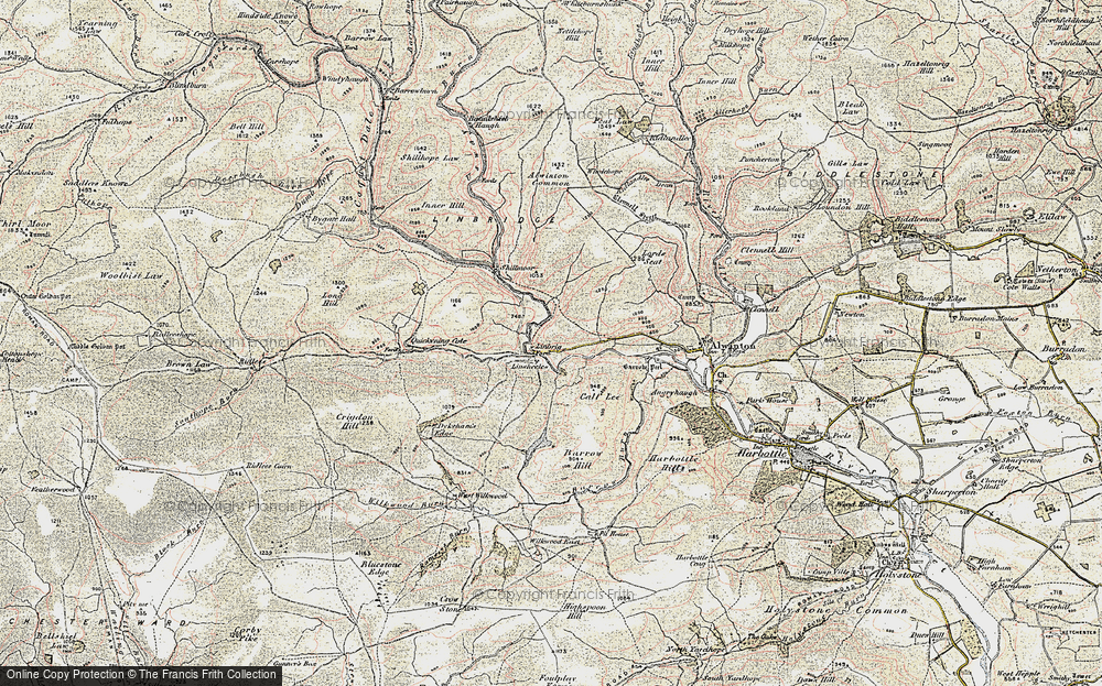 Old Map of Historic Map covering Linshiels in 1901-1903