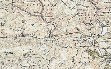 Old map of Linshiels in 1901-1903