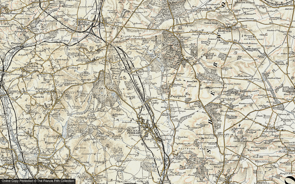 Old Map of Historic Map covering Aldercar Wood in 1902