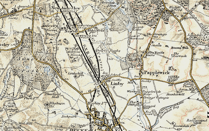 Old map of Aldercar Wood in 1902