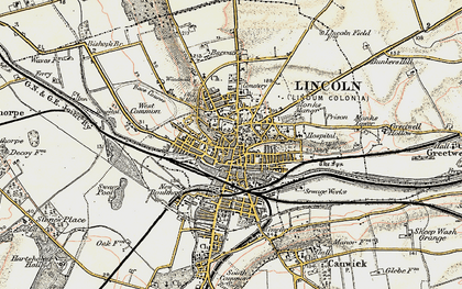 Old map of Lincoln in 1902-1903