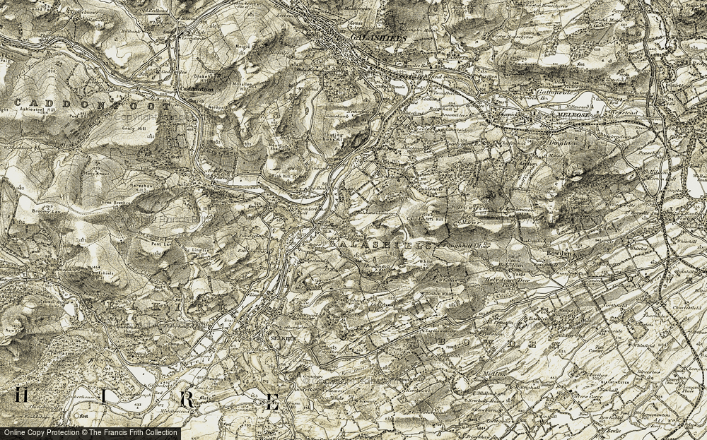 Old Map of Lindean, 1904 in 1904