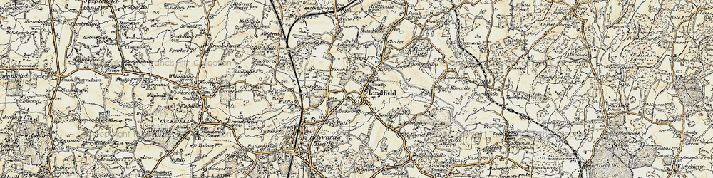 Old map of Lindfield in 1898
