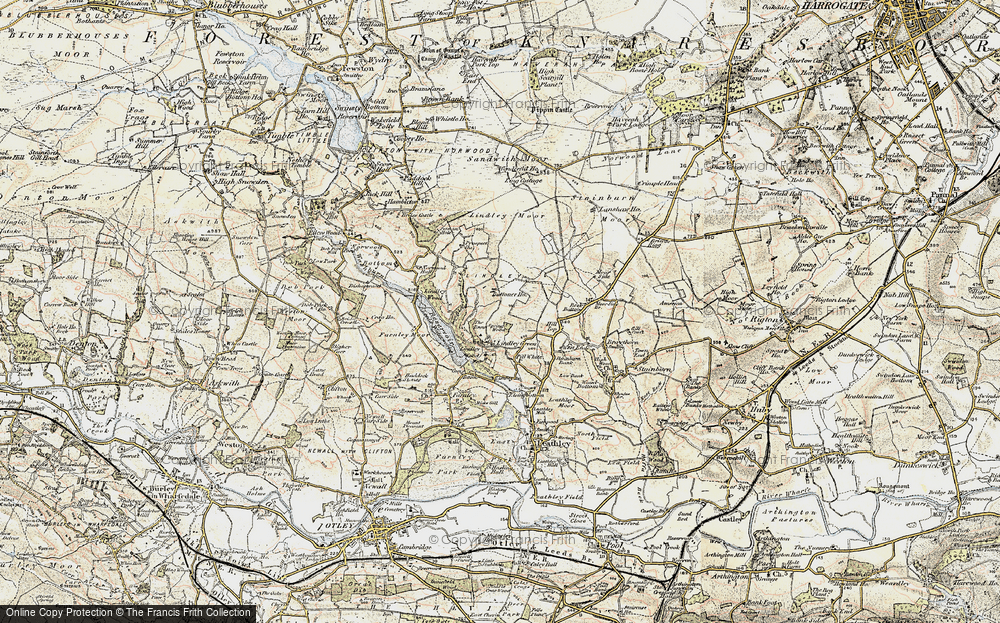 Old Map of Historic Map covering Lindley Wood in 1903-1904