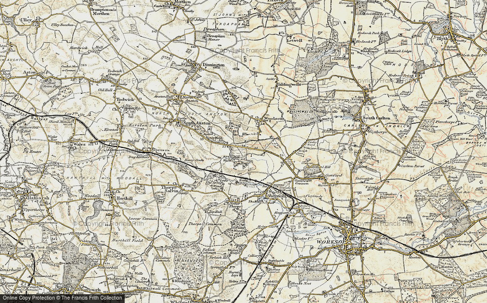 Old Map of Historic Map covering Lindrick Common in 1902-1903