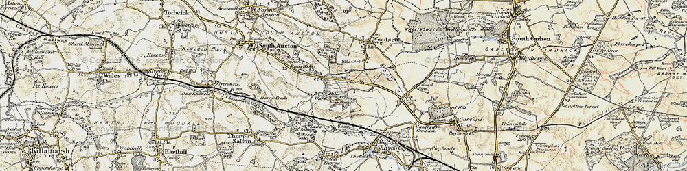 Old map of Anston Stones Wood in 1902-1903