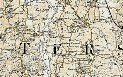 Old map of Lineholt Common in 1901-1902