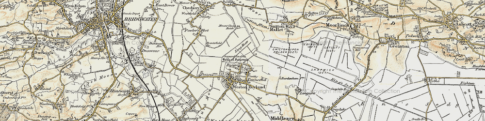 Old map of Liney in 1898-1900