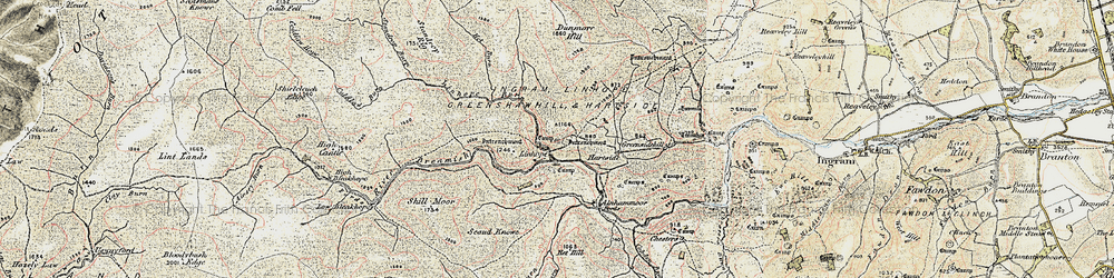 Old map of Alnhammoor in 1901-1903