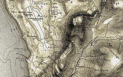 Old map of Linicro in 1908-1909