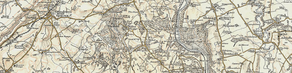 Old map of Linley in 1902