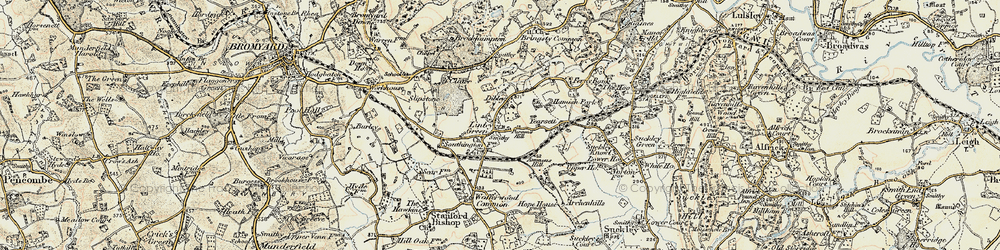 Old map of Linley Green in 1899-1901