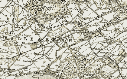 Old map of Linnie in 1911-1912