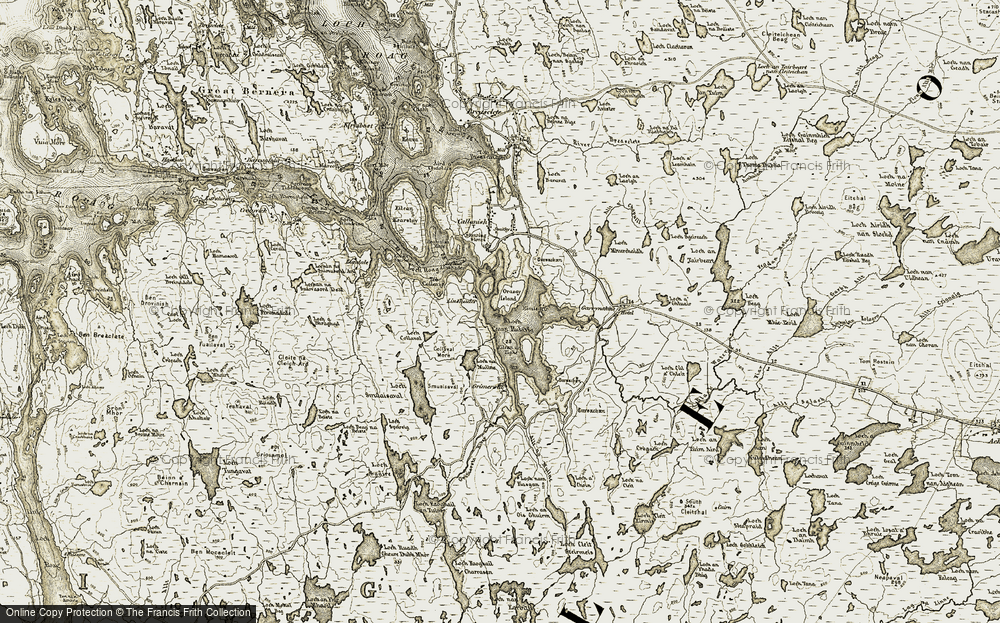 Old Map of Historic Map covering Abhainn Ghriomarstaidh in 1911
