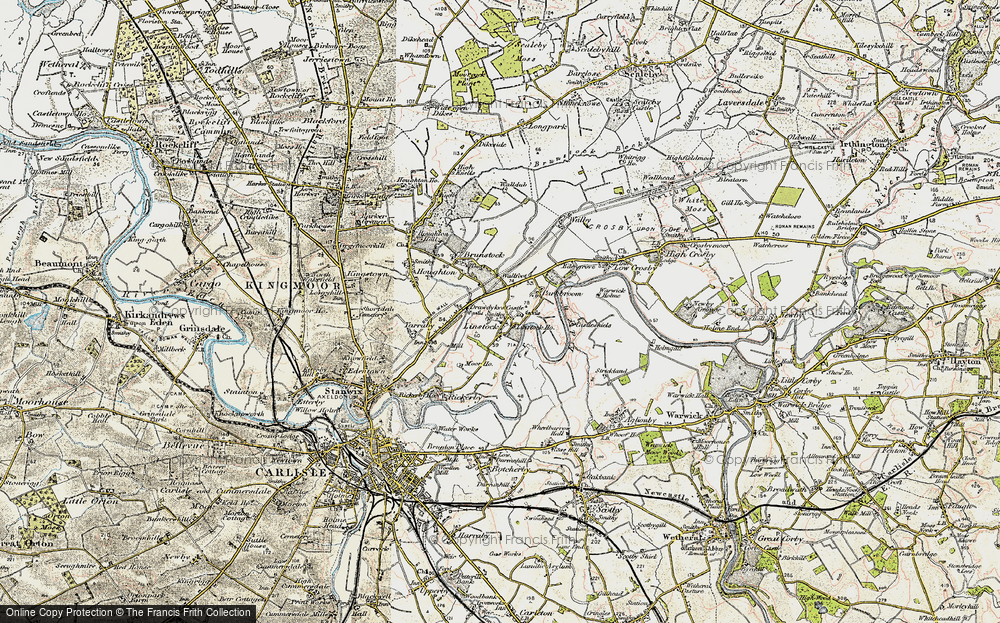 Old Map of Historic Map covering Linstock Ho in 1901-1904