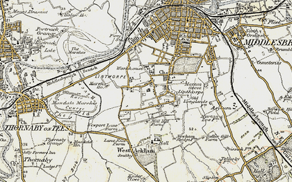 Old map of Linthorpe in 1903-1904