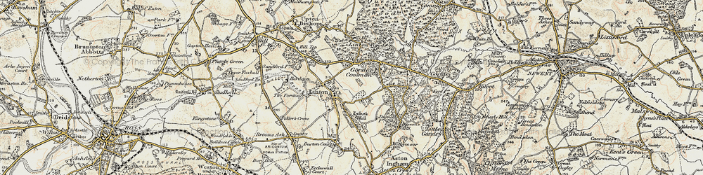 Old map of Linton Wood in 1899-1900