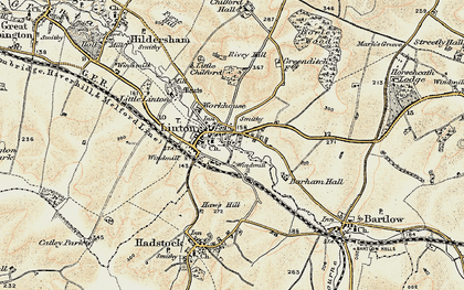 Old map of Barham Hall in 1899-1901